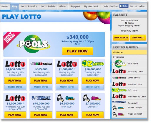 Play OzLotteries online